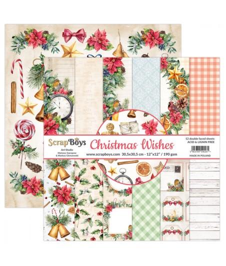 Bloczek papierów do scrapbookingu ScrapBoy 12x12, Christmas Wishes