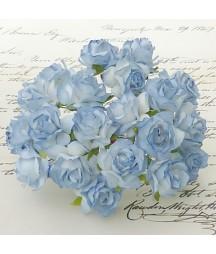 Kwiatki do scrapbookingu 2-Tone Blue Mulberry Wild Roses SAA-230 30 mm, 5 szt.