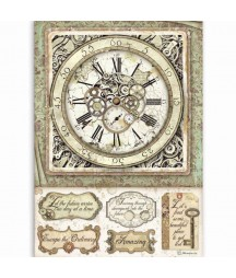 Papier ryżowy Stamperia A4 - Lady Vagabond zegar DFSA4519