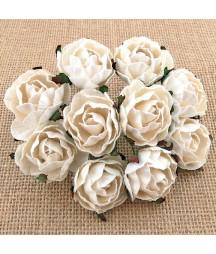 Kwiatki do scrapbookingu White Mulberry Peony Flowers SAA-503 30 mm, 5 szt.