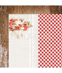 Papier do scrapbookingu 30x30, Delicious 02 czerwona kratka