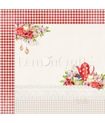 Papier do scrapbookingu 30x30, Delicious 06 czerwona krateczka, czerwony czajniczek