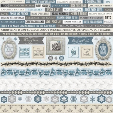 Arkusz naklejek do scrapbookingu 12x12, Frosted - Kaisercraft SS321