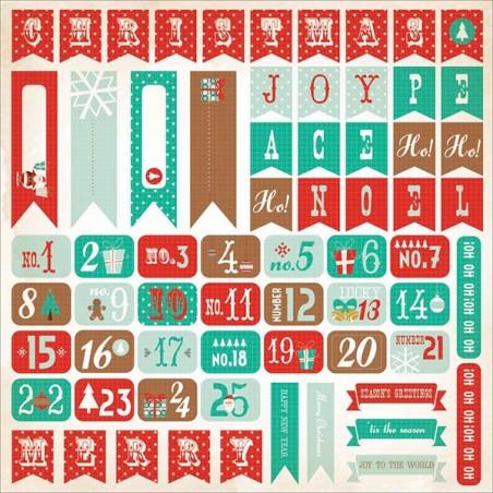 Arkusz naklejek 12x12, Gingerbread Cardstock Stickers, Numbers [SS201]