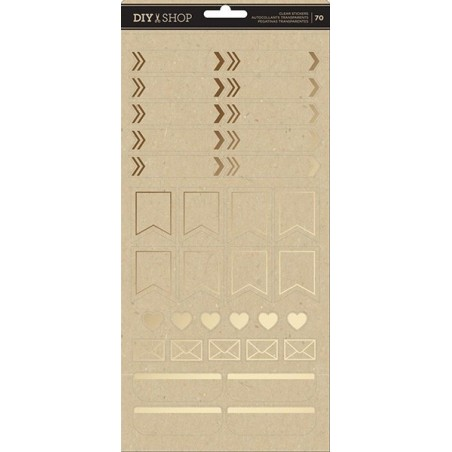 Zestaw naklejek, DIY Shop 4 Clear Stickers, Labels W/Gold Foil [376313]