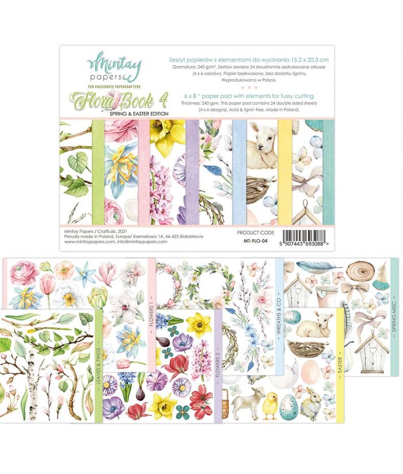 Papiery do scrapbookingu z elementami do wycinania, Flora Book 4 Spring Edition - Mintay Papers