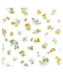 Serwetka do decoupage z motywem drobnych kwiatków i pszczółek