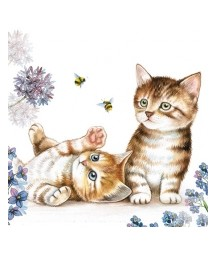 Serwetka do decoupage z motywem małych kotków