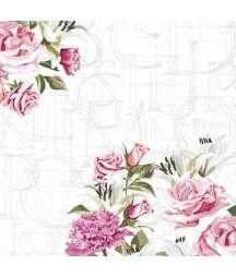 Serwetka do decoupage z motywem róży i listu w tle