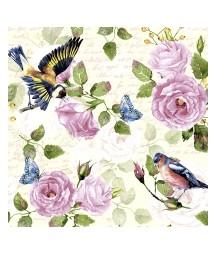 Serwetka do decoupage z motywem róży i ptaków