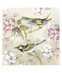 Serwetka do decoupage - ptaki na tle kwiatów