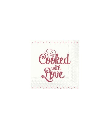 Serwetka do decoupage - napis cooked with love