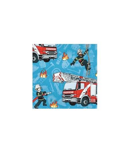 Serwetka do decoupage - strażacy oraz wozy strażackie