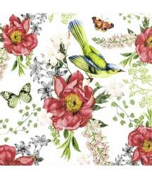Serwetka do decoupage - róże, motyle i ptaki