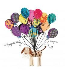Serwetka do decoupage - pies z artystycznymi balonami