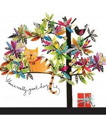 Serwetka do decoupage - kot na artystycznym drzewie