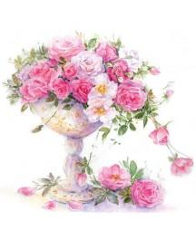 Serwetka do decoupage - różowe róże w donicy