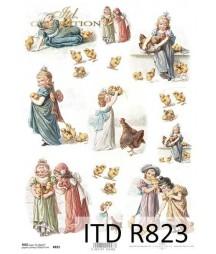 Papier ryżowy do decoupage, Dziewczynki z kurczaczkami Wielkanoc ITD Collection R0823