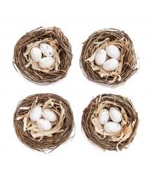 Gniazdka ptasie z jajkami do dekoracji wielkanocnych 5.5 cm 4 szt.