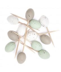 Dekoracyjne jajka przepiórcze na piku - barwione miętowe i kolory naturalne