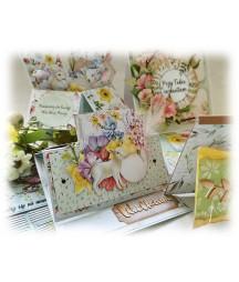 Kurs online - kartki wiosenno-wielkanocne 5 szt. w różnych stylach i rozmiarach - wariant z kitem