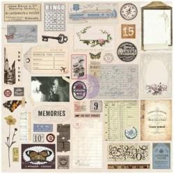 Zestaw naklejek i elementów tekturowych, Prima Traveler's Journal, Vintage [592721]