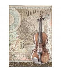 Papier ryżowy Stamperia A4 - Passion - skrzypce DFSA4538