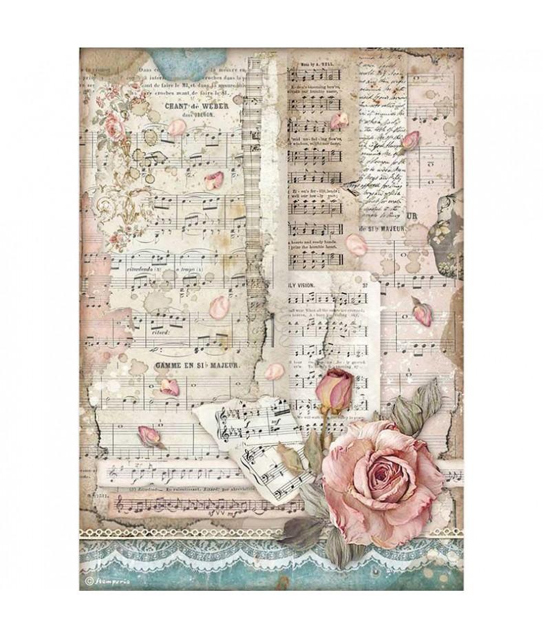 Papier ryżowy Stamperia A4 - Passion - róże i nuty DFSA4539