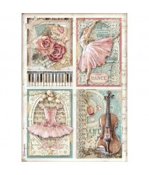 Papier ryżowy Stamperia A4 - Passion - skrzypce i baletnica DFSA4542