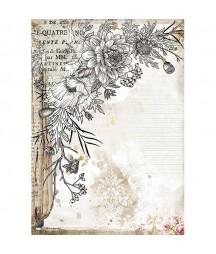 Papier ryżowy Stamperia A4 - Journal - Karta stylizowana kwiatami DFSA4553