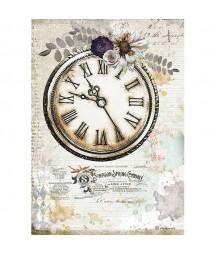 Papier ryżowy Stamperia A4 - Journal - romantyczny zegar DFSA4555