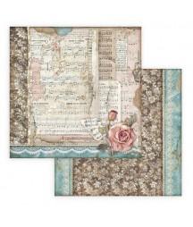 Papier do scrapbookingu 12x12, Stamperia - Passion - nuty i róża SBB770