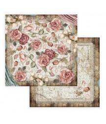 Papier do scrapbookingu 12x12, Stamperia - Passion - róże i rękopis SBB771