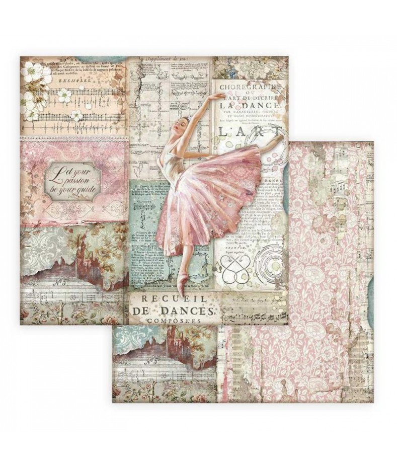Papier do scrapbookingu 12x12, Stamperia - Passion - baletnica SBB772