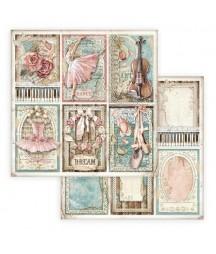 Papier do scrapbookingu 12x12, Stamperia - Passion - róże, baletnica i skrzypce SBB773