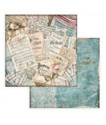 Papier do scrapbookingu 12x12, Stamperia - Passion - zaproszenia i nuty SBB774