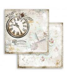 Papier do scrapbookingu 12x12, Stamperia - Journal - romantyczny zegar SBB782