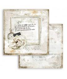 Papier do scrapbookingu 12x12, Stamperia - Journal - list z różą SBB783