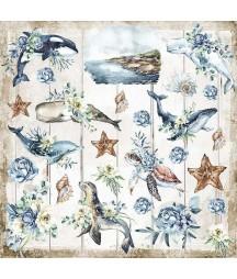 Bloczek papierów do scrapbookingu 30x30 cm, Sea Dream - Romantic Collection - Stamperia SBBL87