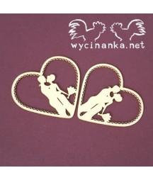Tekturki do scrapbookingu, Tenderness - serca z zakochaną parą / Ślub miłość / Wycinanka.