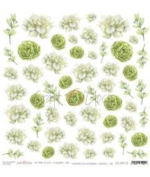 Arkusz do scrapbookingu Craft O'Clock Kwiatki XIII / 13 - zielone kwiaty