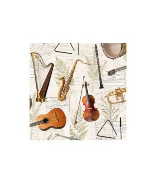 Serwetka do decoupage z instrumentami.