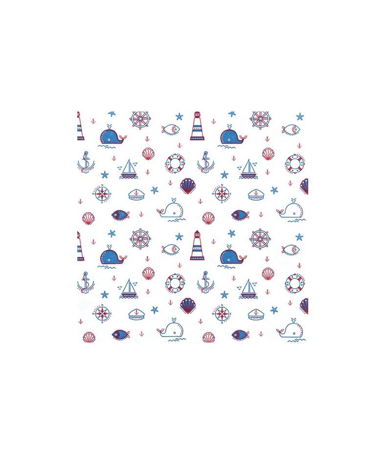 Serwetka do decoupage - Morskie rysunki