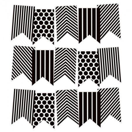 Papierowy banerek / die cut Black and White [P13]