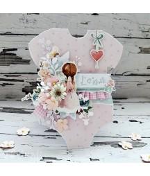 Kwiatki papierowe handmade DP Craft, białe shabby chic CEKP-073