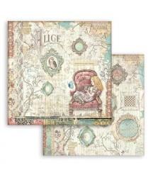 Bloczek papierów do scrapbookingu 15x15 cm, Alice - Alicja po drugiej stronie lustra / Stamperia SBBXS02