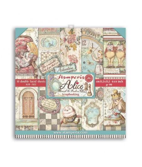 Papiery do scrapbookingu, Alicja po drugiej stronie lustra SBBXS02 Stamperia - bloczek