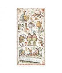 Bloczek papierów do scrapbookingu 15x30 cm, Alice - Alicja po drugiej stronie lustra / Stamperia SBBV10