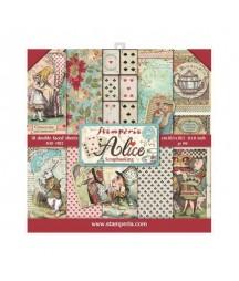 Bloczek papierów do scrapbookingu 20x20 cm, Alice - Alicja w Krainie Czarów / Stamperia SBBS01