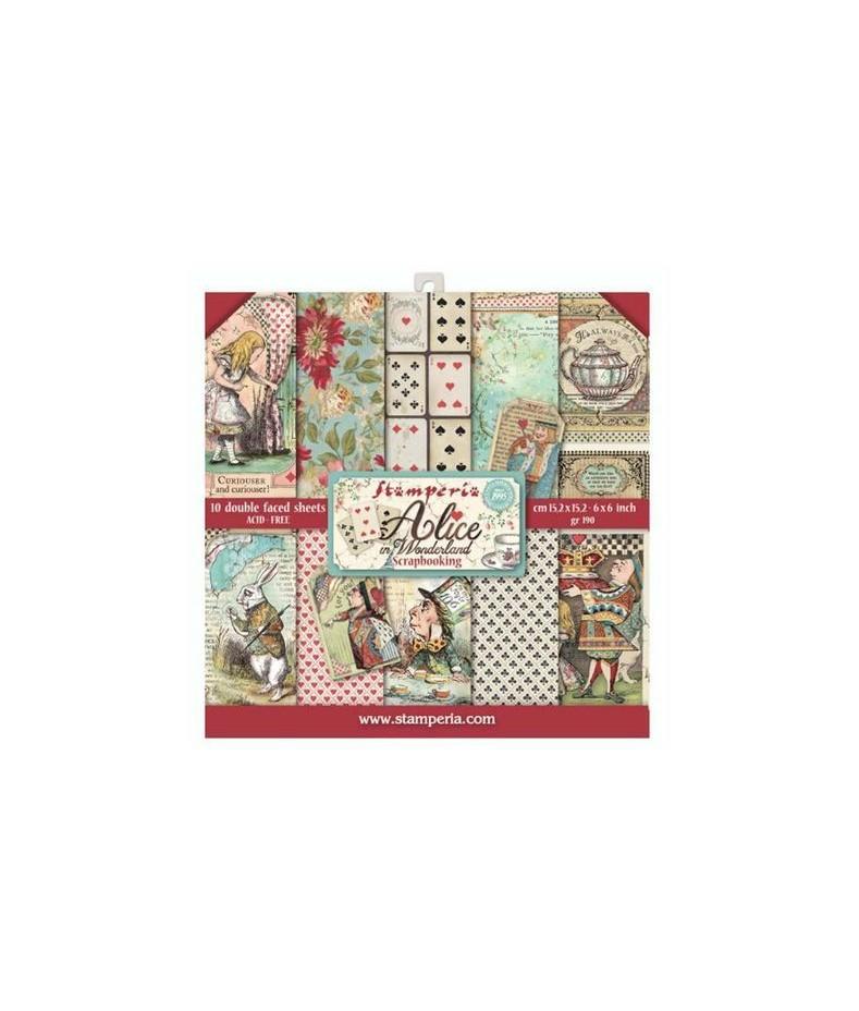 Bloczek papierów do scrapbookingu 15x15 cm, Alice - Alicja w Krainie Czarów / Stamperia SBBS01
